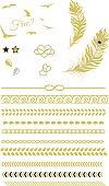 Gold Beach Tattoo,Feather, Birds, Chain, Vector