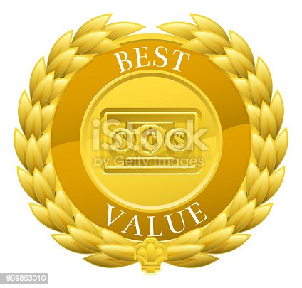 A gold best value winner medal with a laurel wreath design