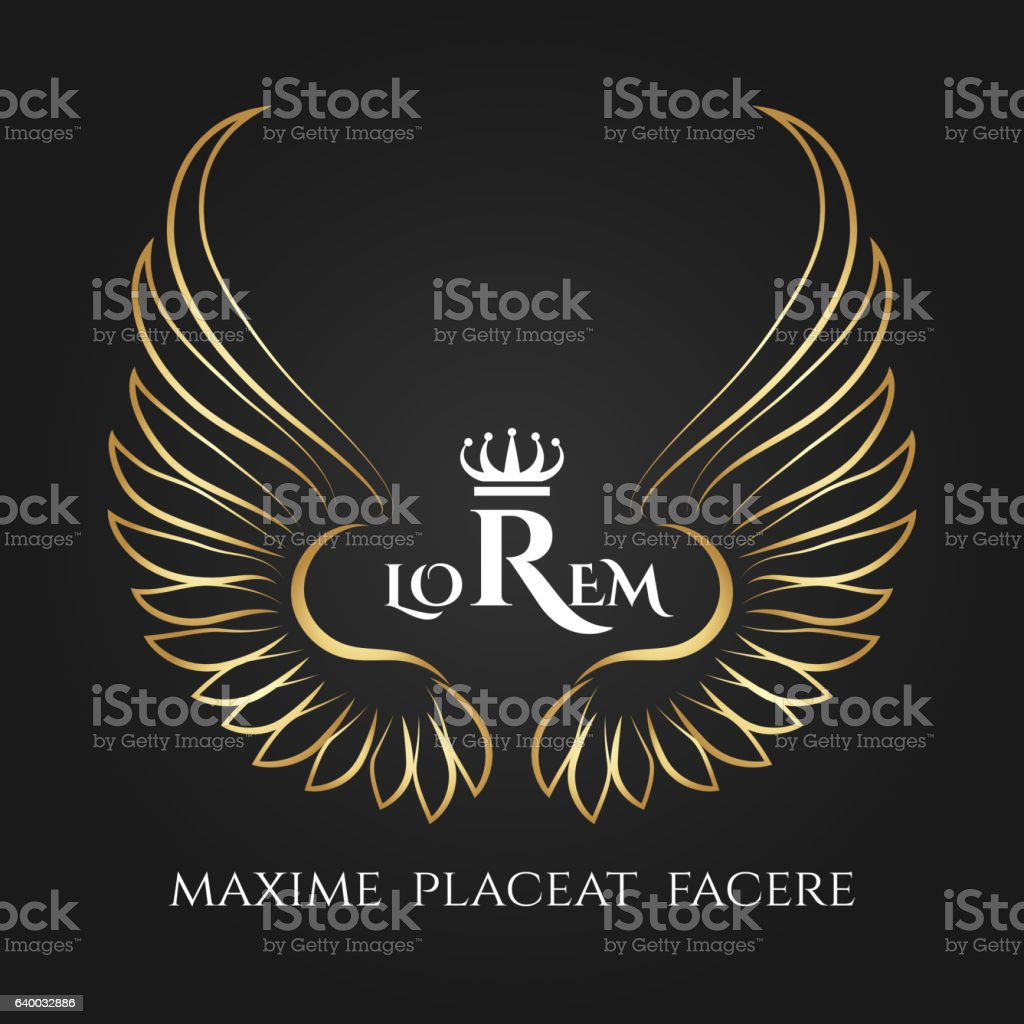 Gold bird wings vector logo. Golden angel winged business label