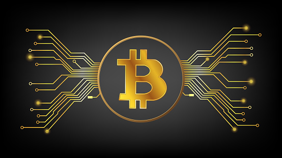Gold Bitcoin BTC cryptocurrency symbol in circle with pcb tracks on dark background. Design element in techno style for website or banner. Vector illustration.