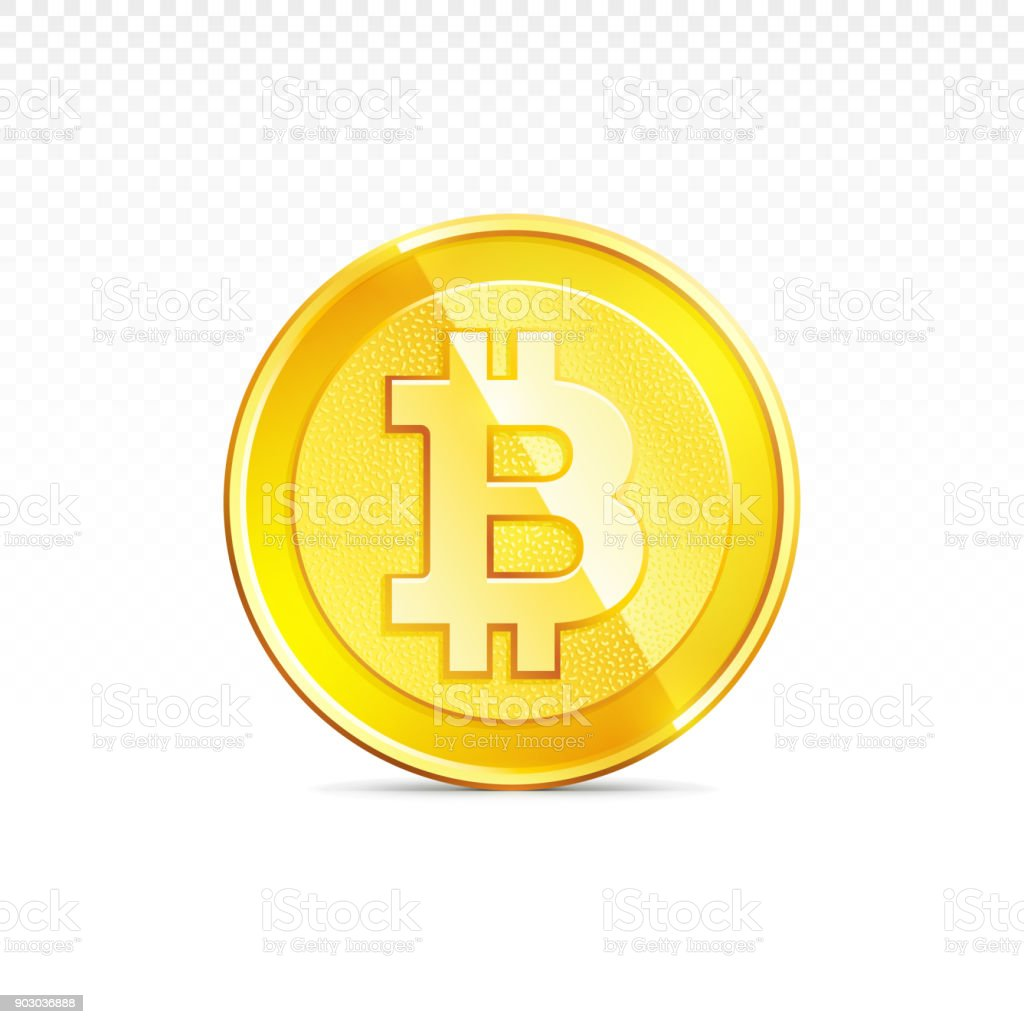 Gold Bitcoin Coin Isolated Background Cryptocurrency Sign