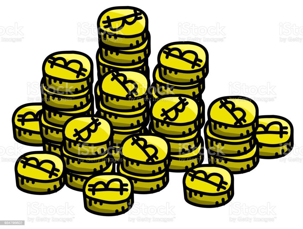 만화 스타일에 Bitcoin cryptocurrency 금화 더미 - 로열티 프리 0명 벡터 아트