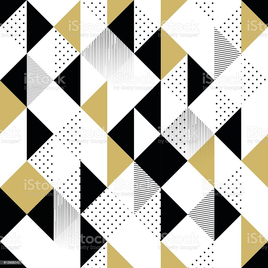 Gold black and white seamless triangle pattern. vector art illustration
