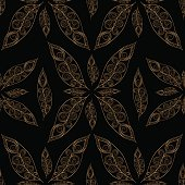 Gold black feathers pattern seamless. Indian peacock feather vector print