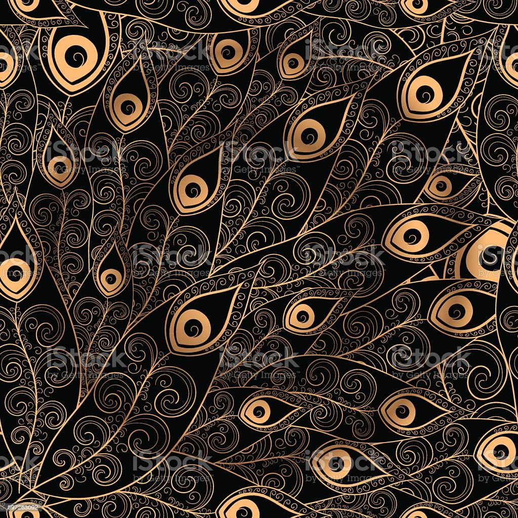 Gold black feathers pattern seamless. vector art illustration
