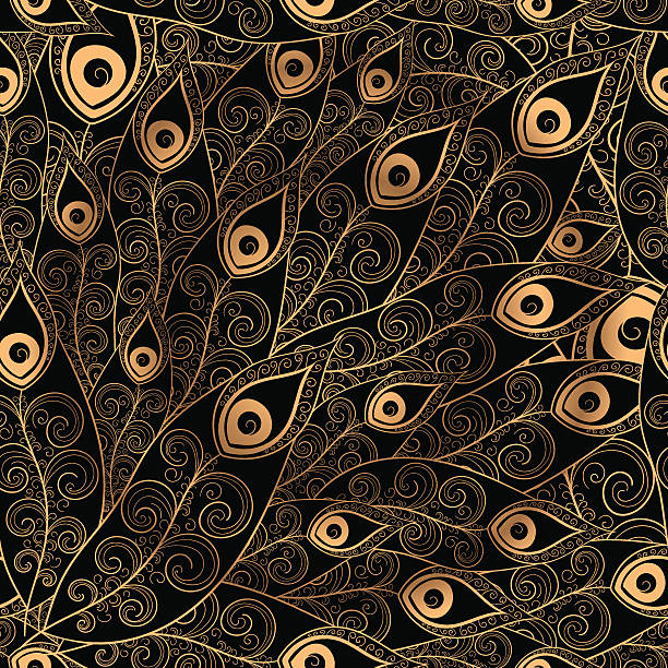 gold black feathers pattern seamless. - pfauenfarben stock-grafiken, -clipart, -cartoons und -symbole