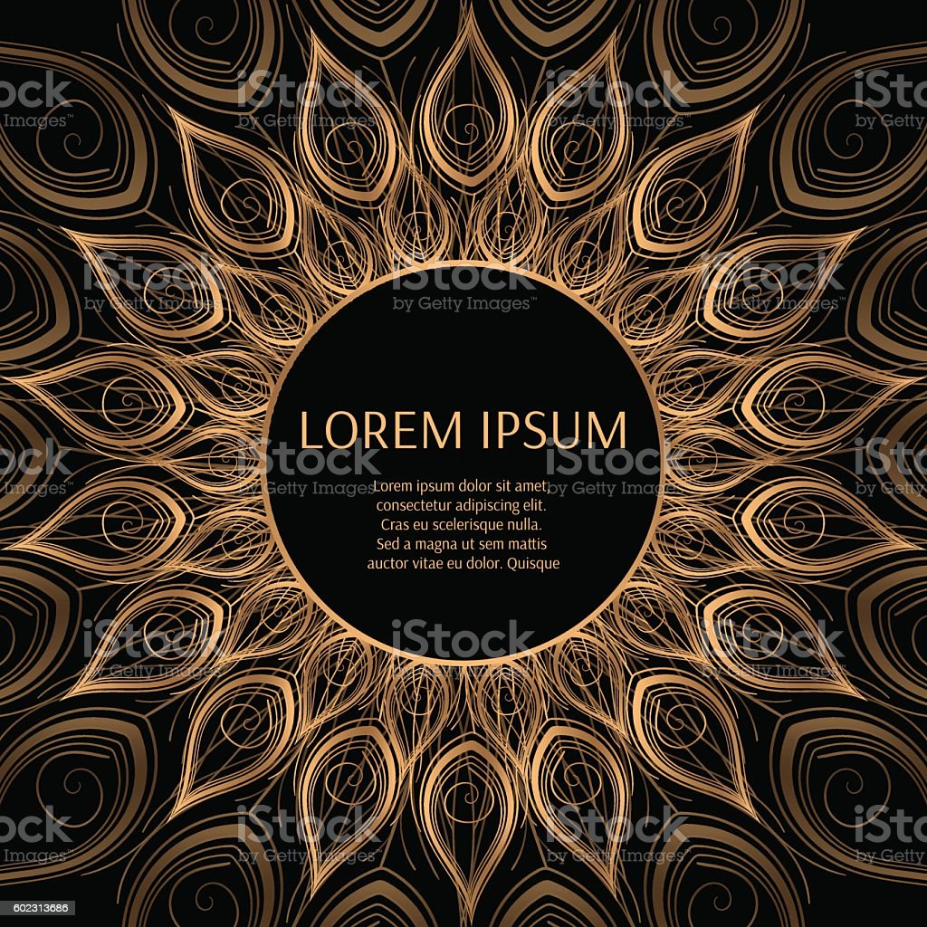 Gold black frame vector with peacock feather. vector art illustration