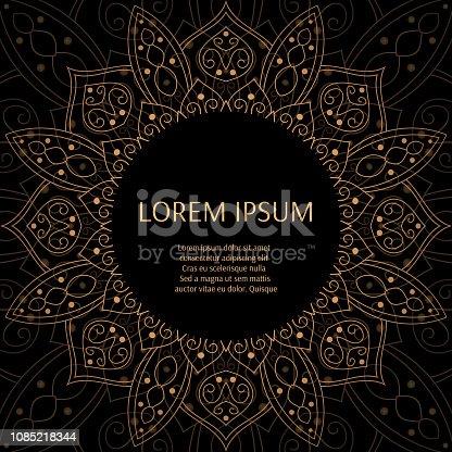 818f84b9469 Gold Black Luxury Background Design Vector Sun Symbol Pattern Frame  Oriental Indian Mandala Ornament For Fashion ...