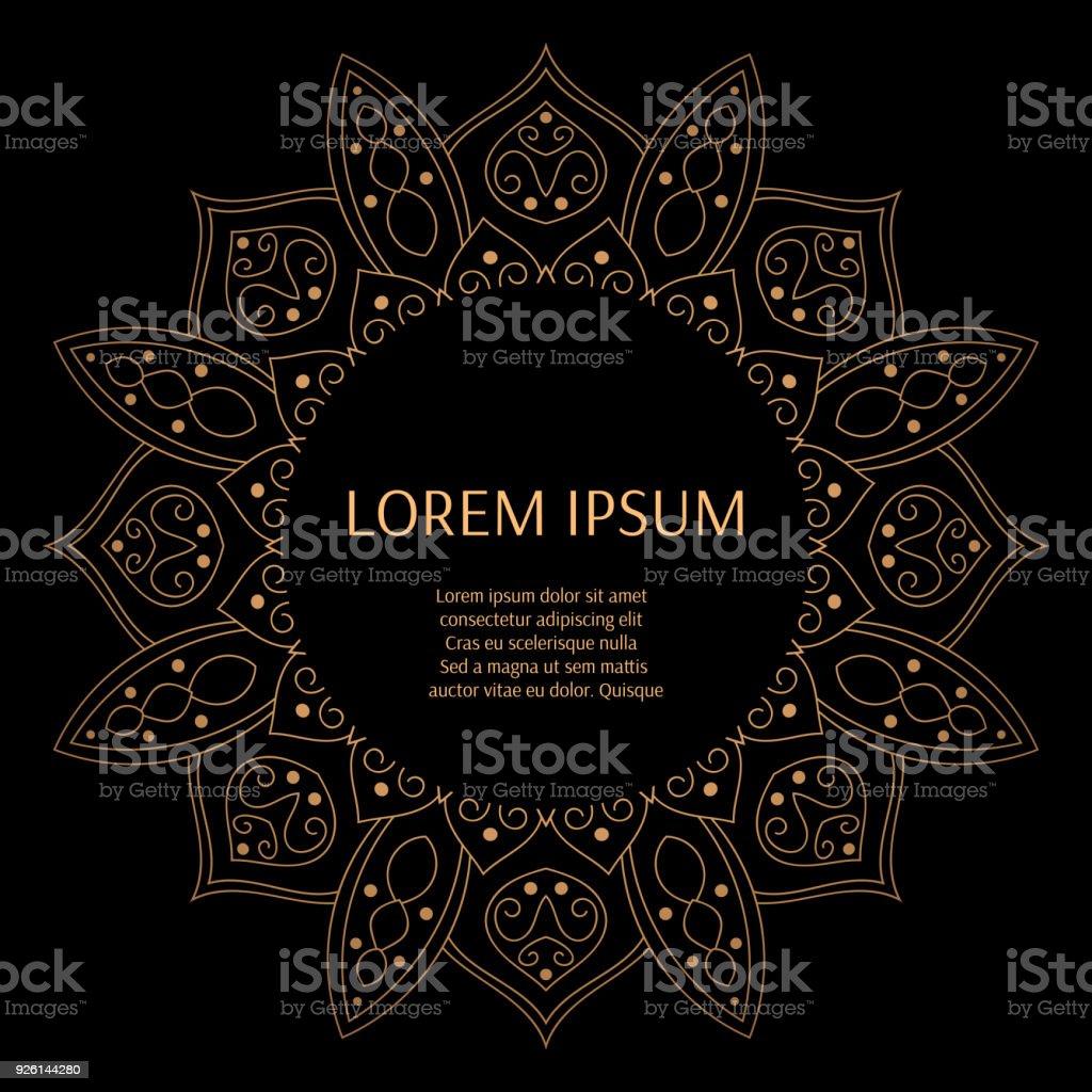 Cadre De Luxe Noir Or De Modele Vecteur De Fond Arabe De Conception