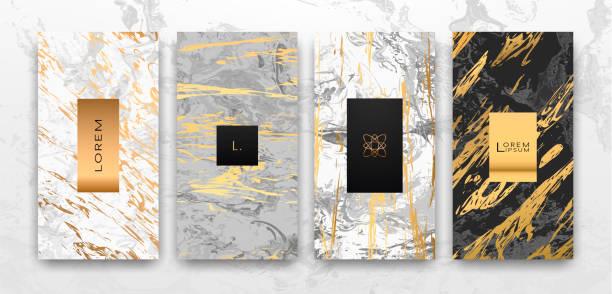 gold, schwarz, weiss marmor vorlage, künstlerische umfasst design. - edelrost stock-grafiken, -clipart, -cartoons und -symbole