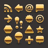 Gold empty glossy metal chrome web buttons. Circle, triangle, star, hexagon, heart, square, rectangle shapes, RSS, arrow, at , map pin, exclamation point, copyright, letter C, letter A, chat room, speech bubble, plus sign with black shadow and reflection on dark gray backgrounds.