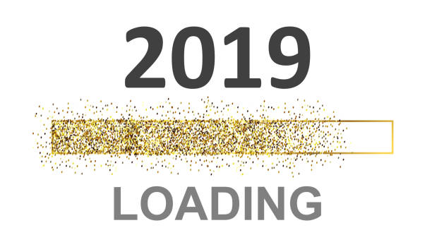 Gold Blaster Load Bar 2019. Expectation of the holiday – vector for stock Gold Blaster Load Bar 2019. Expectation of the holiday – vector for stock annotation stock illustrations