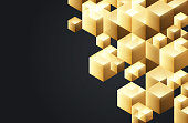 Gold cubes abstract background pattern optical illusion design.
