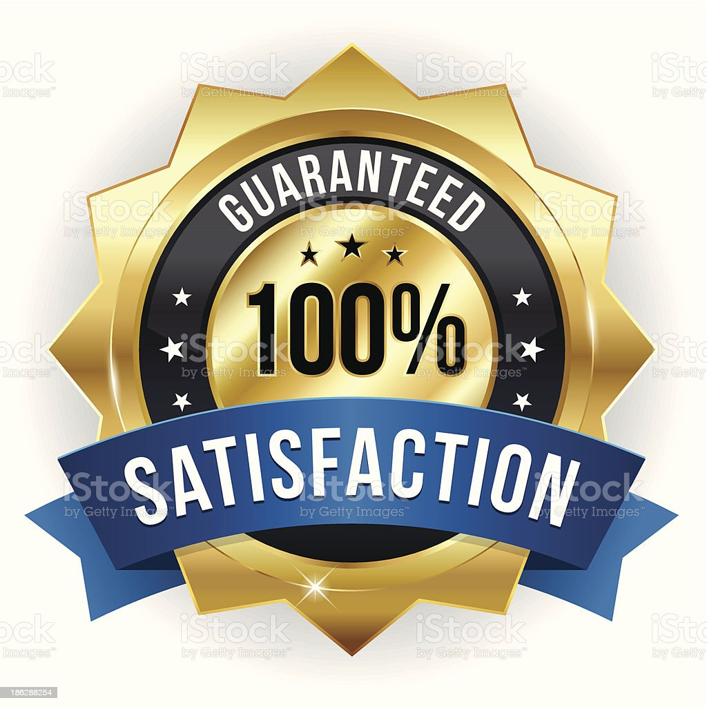 Gold blue hundred percent satisfaction badge vector art illustration