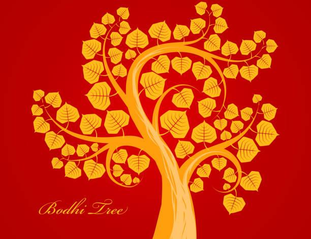 Gold Bodhi tree - ilustración de arte vectorial