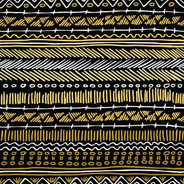 gold boho seamless pattern retro tribal background - tribal pattern stock illustrations, clip art, cartoons, & icons