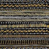 Gold boho seamless pattern retro tribal background