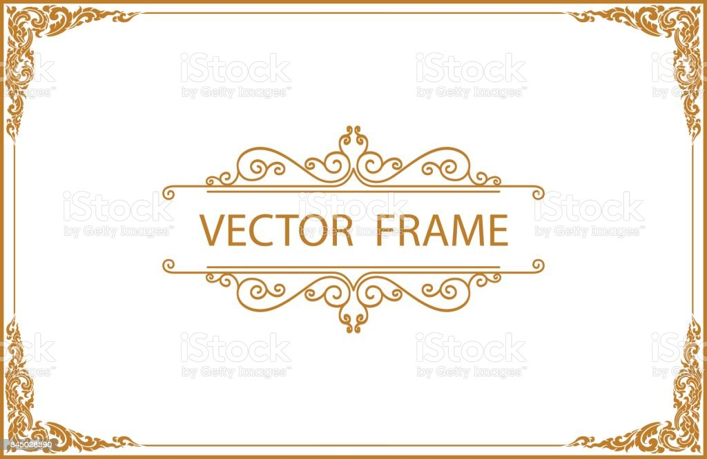 Gold Border Design Frame Photo Template Certificate