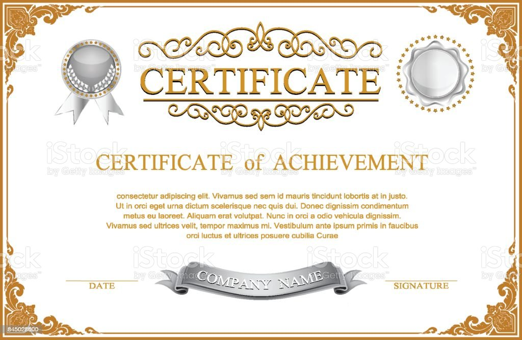 Gold Border Design Frame Photo Template Certificate Template With