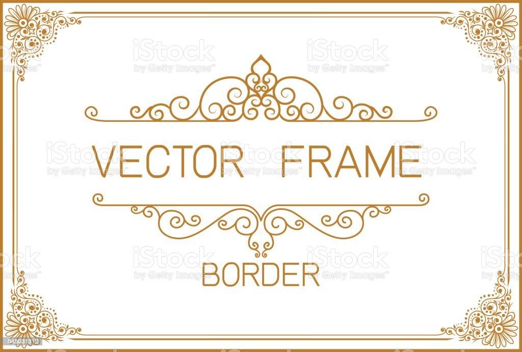 Ilustración de Diseño De Frontera De Oro Marco Foto Plantilla ...