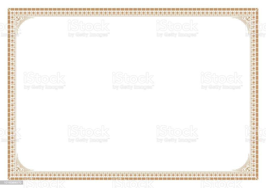 gold border for certificate victorian style with line stock vector