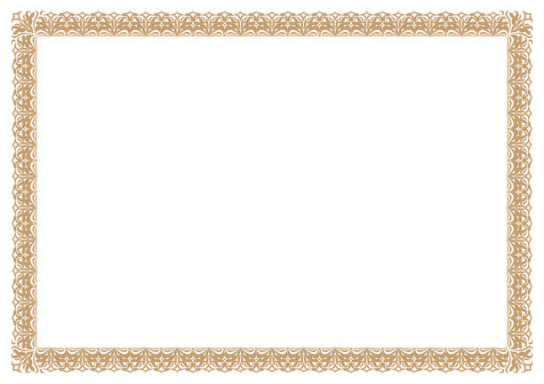 Gold Border for certificates vector art illustration