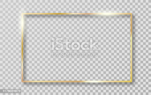 Golden frame with shadows isolated on transparent background. Gold border frame for decoration. Vector Illustration.