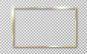 Golden frame with shadows isolated on transparent background. Gold border frame for decoration. Vector Illustration.