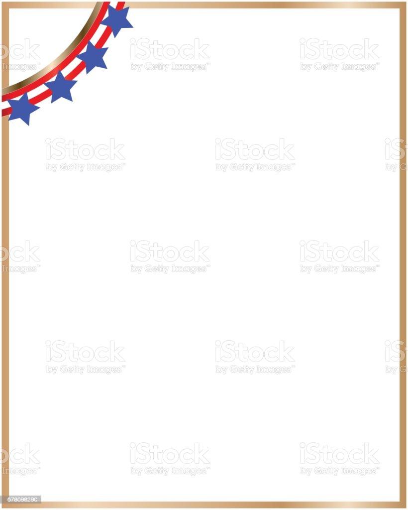 gold border usa flag ribbon in the corner stock vector art more