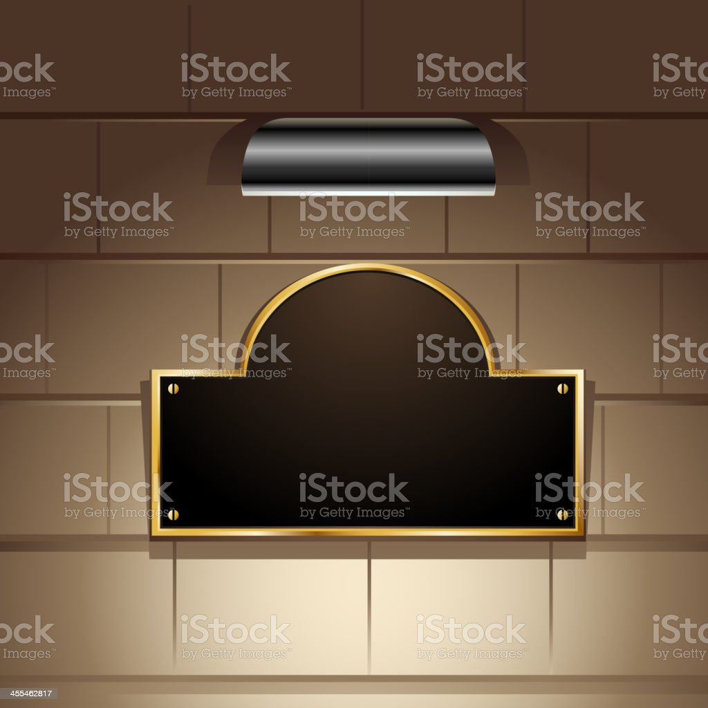 Gold Bordered Display with Focus Light vector art illustration
