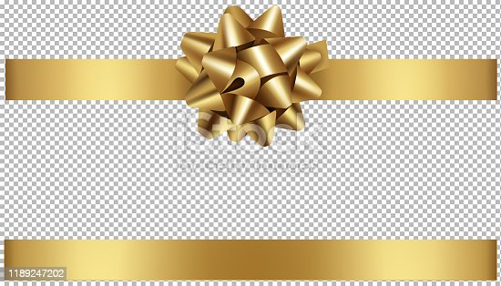 gold bow and ribbon illustration for christmas and birthday decorations vector