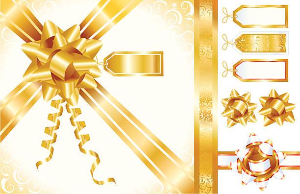 золотой бантами, ленты и теги - four seasons stock illustrations