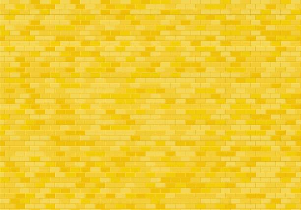 골드 벽돌 벽 배경입니다. 노란 벽돌 질감 완벽 한 패턴 벡터입니다. - 노랑 stock illustrations