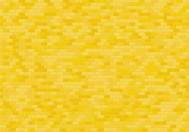 gold brick wall background. yellow bricks texture seamless pattern vector. - yellow stock illustrations