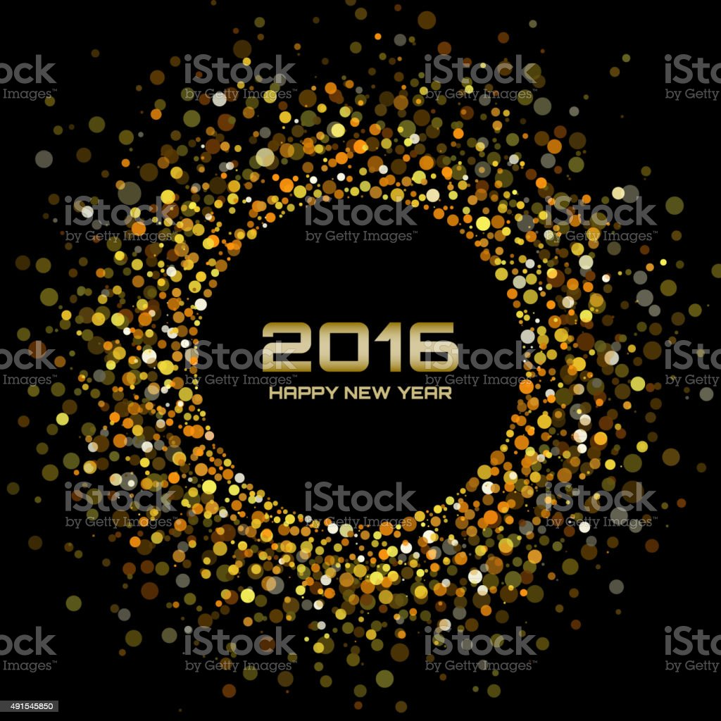 Gold Bright New Year 2016 Background vector art illustration
