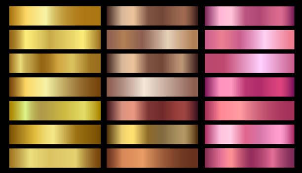 ilustrações, clipart, desenhos animados e ícones de ouro, bronze, rosa folha metálica ouro textura conjunto de gradientes de vetor. - amostra de cor