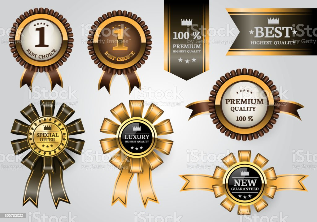 Gold brown labels ribbon quality award set collection on soft gray background design premium luxury vector illustration. vector art illustration