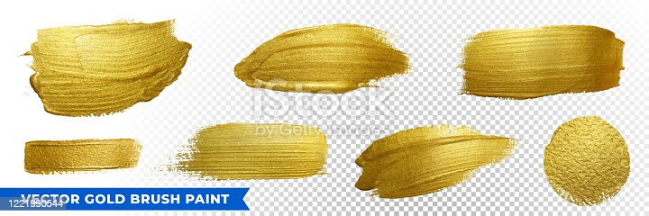 istock Gold brush paint strokes with golden glitter texture. Vector golden sparkling glow background for Christmas, luxury design 1221990544