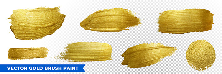 Gold brush paint strokes with golden glitter texture. Vector golden sparkling glow background for Christmas, luxury design