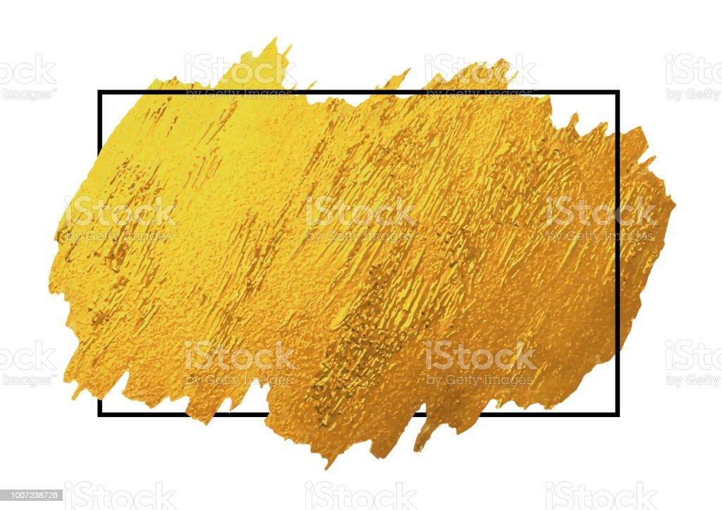 Gold Pinsel stoke Textur auf weißem Hintergrund mit schwarzen Linie Frame-Vektor-illustration – Vektorgrafik