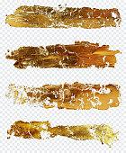 Gold brushes on white background isolated