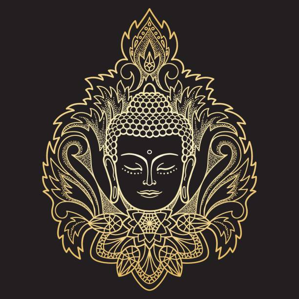 Gold Buddha Head on Floral Background vector art illustration