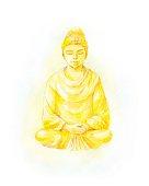 Gold Buddha statue watercolor illustration. Colorful retro illus
