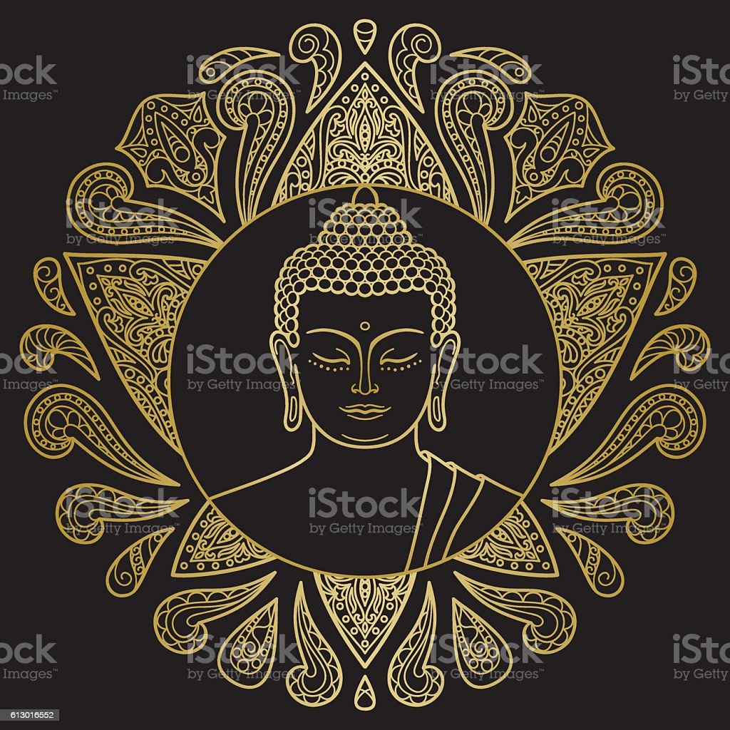 Gold Buddha with Lotus vector art illustration