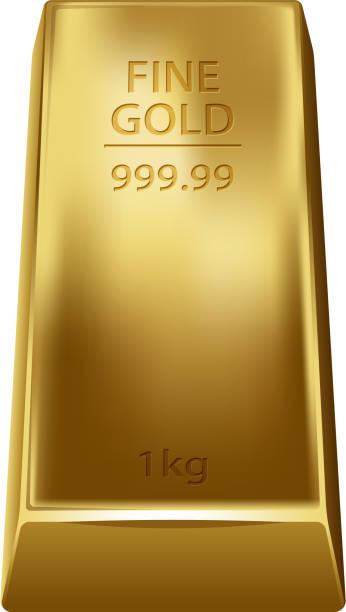 Gold bullion isolated on white background. Golden ingot. Gold bullion isolated on white background. Golden ingot. ingot stock illustrations