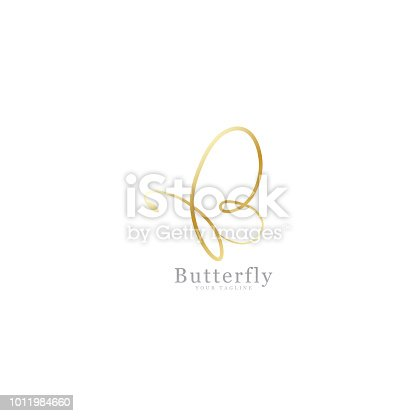 Simple butterfly gold design, vector icon`s fancy signature, template design isolated white background