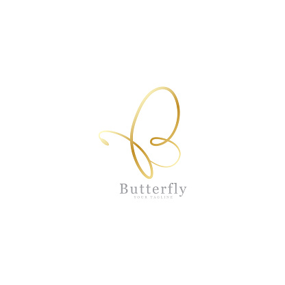 Gold butterfly signature clipart