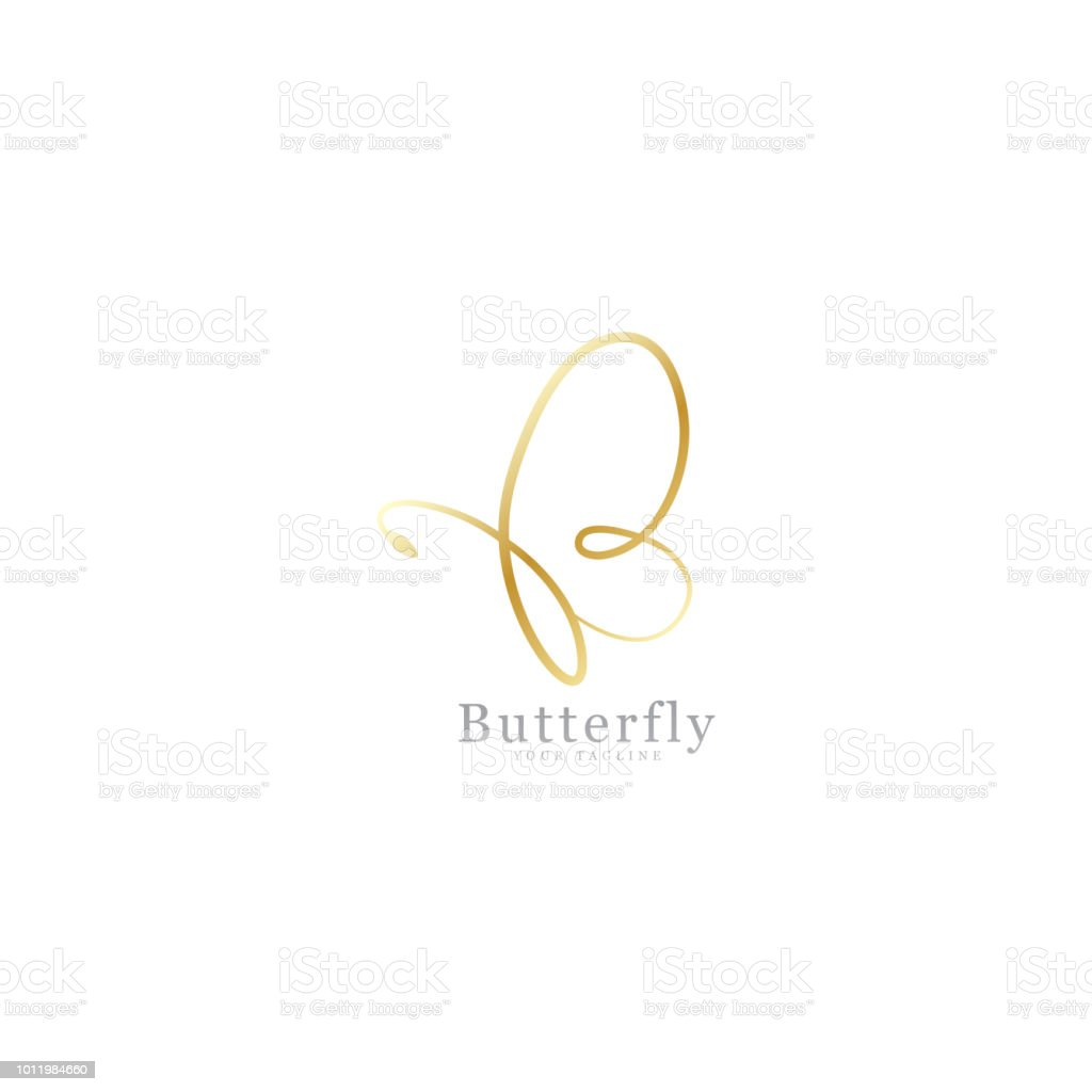 Gold butterfly signature vector art illustration