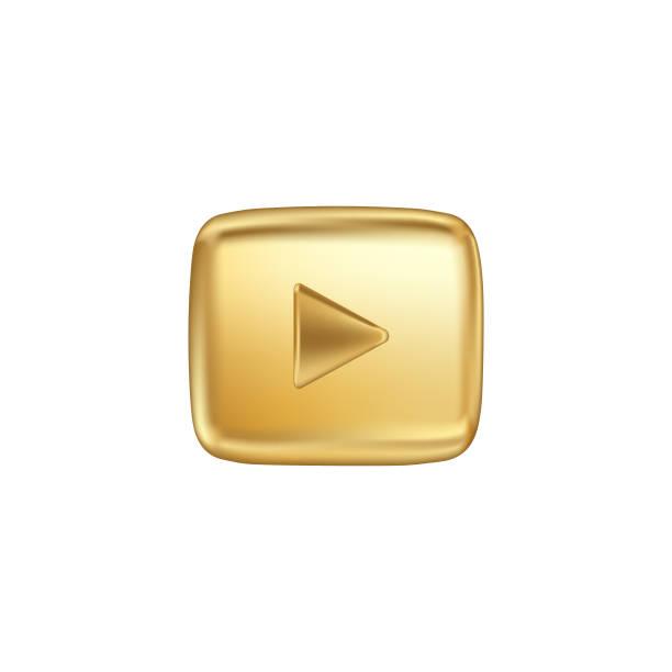 金色按鈕視頻播放機。向量插圖。 - gif 幅插畫檔、美工圖案、卡通及圖標