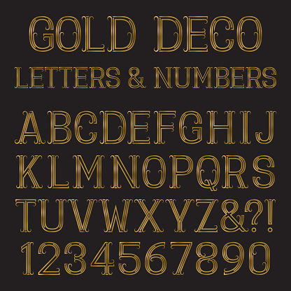 Gold capital letters and numbers of lines with flourishes.